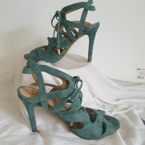 Slingback Lace Up Calven Pump Blue Green Suede 8.5